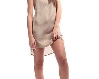 silk beige DRESS -size XS, S, M, L, XL -custom fit- made to measure- hippie boho style