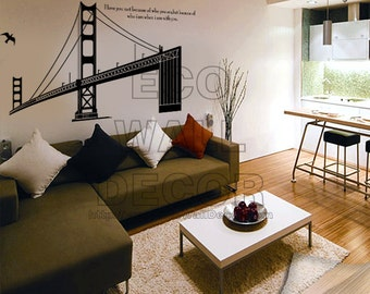 PEEL and STICK Removable Vinyl Wall Sticker Mural Decal Art - Golden Gate Bridge Bay Bridge of San Francisco