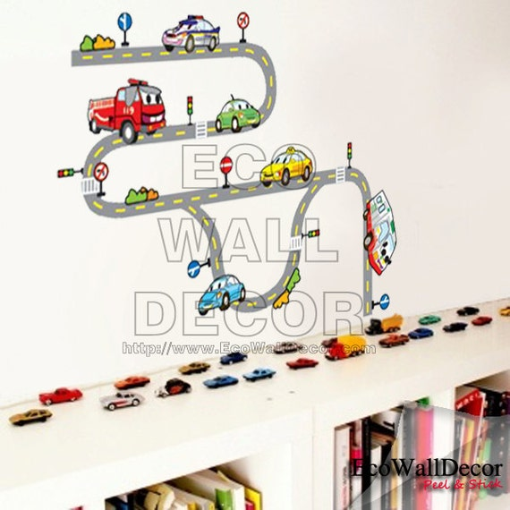 PEEL and STICK Removable Vinyl Wall Sticker Mural Decal Art - Cars Roads Highway