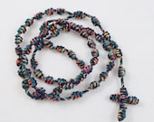 Autism Awareness Rosary - Knotted Cord Rosary - Autism Ribbon Colors, Black with Red, Blue, Green, and Yellow