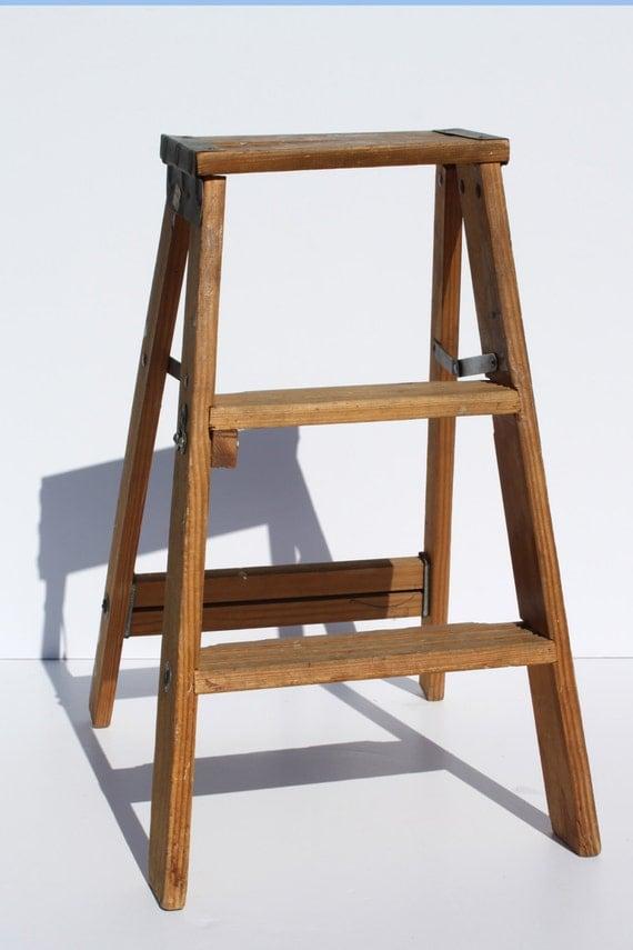 vintage wood ladder folding two step wooden ladder industrial. Black Bedroom Furniture Sets. Home Design Ideas