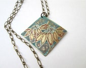 Etched Brass Pendant Necklace with Cone Flowers Design