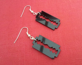 Handmade Black Razor Blade Charm Earrings Gothic Emo Steampunk