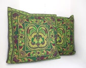 Set Green Bird 2 Cushions Cover  HMONG HillTribe Thailand FAIR Trade Handmade (CS011SET-GB)
