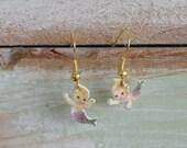 Mermaid Earrings, Shrinky Dinks, dangle earrings, girls, women jewelry, handmade earrings, whimsical mermaid earrings