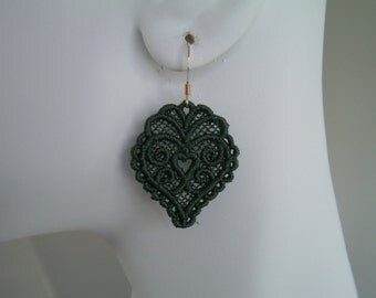 SALE Dk Green Heart Lace Charm Gold Hypo-Allergenic Hook Earrings