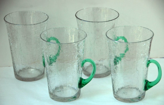 Rare Antique MORGANTOWN LEMONADE or ALE Tumblers Early 1900s Vintage, Crystal Craquelle (Crackled) Glass with Green (Uranium) Handles