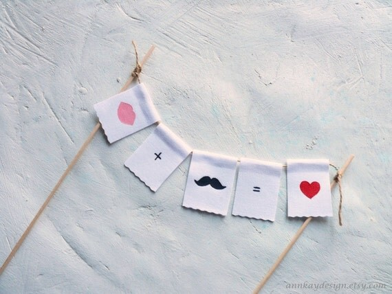 Lips and Mustache Cake Topper Bunting Handpainted Fabric Garland V1