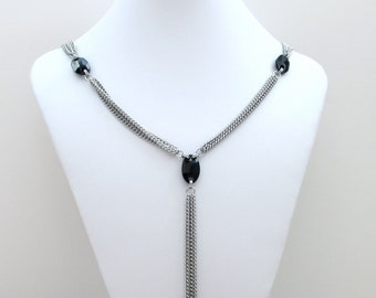 Stainless steel chain necklace, Y necklace with black crystals, women's long necklace