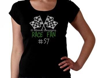 Race Fan Custom RHINESTONE t-shirt tank top sweatshirt S M L XL 2XL - bling racing car bike boat motorcross Sprint Nascar stock bmx motorcyc