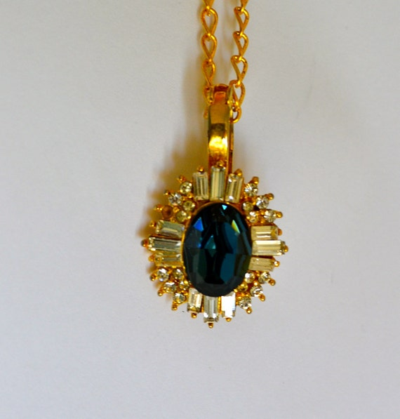 Large CZ Sapphire Pendant, Gold Tone, Clear CZ, Fine Vintage Jewelry, Clearamce Sale, Item No. B499