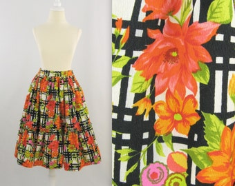 Vintage 1960s Barkcloth Full Skirt w/ Ruffle in Neon Floral - Small