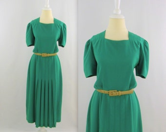 On Sale Vintage 1980s Emerald Green Midi Dress w/ Pleats - Small Medium by Simon Chang