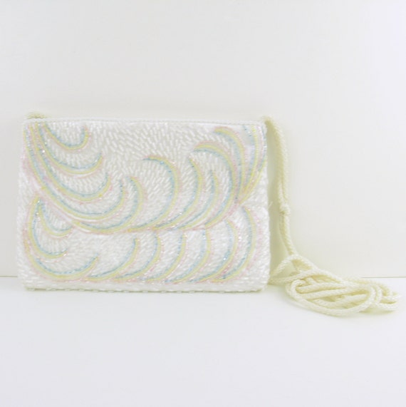 Vintage 1970s White Beaded Disco Purse with Pastel Swirls & Long Strap