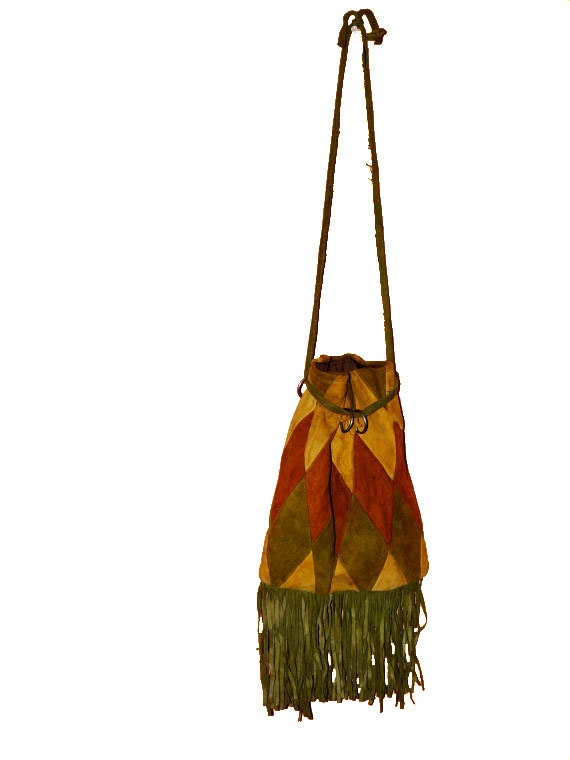 RESERVED for Nancy 1970s suede distressed FRINGED hobo bag in olive tawny and burnt sienna