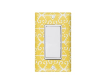READY TO SHIP Ikat Rocker Decora Light Switch Plate Cover / Citron Yellow / Baby Nursery Living Room Dining Room / Michael Miller