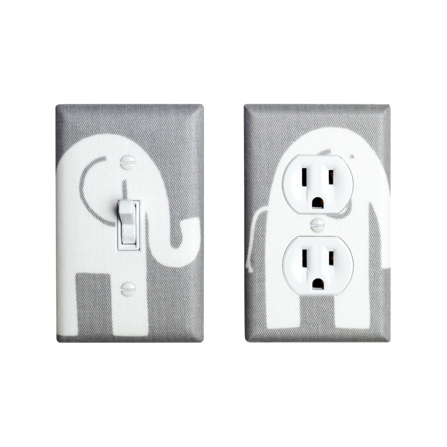 Light Switch Plate Cover: Gray Elephant Light Switch Plate & Outlet Cover SET OF 2