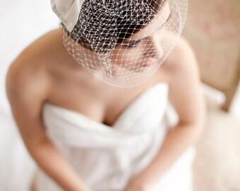 Birdcage Veil with Silk Bow, Blusher Veil, Silk Bow, Wedding Veil, Small Birdcage Veil, Style - Audrey - Style 5113