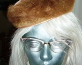 Vintage 1950s Fur Hat Womens Brown and Pink Satin by Marian Anderson