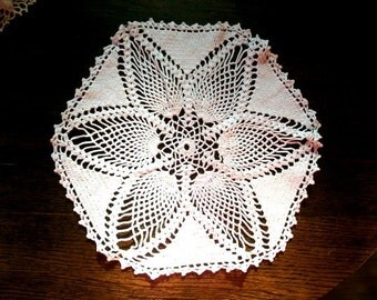 Vintage Doily Hand Crocheted Lace White Round 14.5 Inch