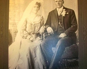 """Vintage Photograph Victorian Bride and Groom 8"""" x 6"""""""