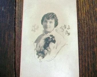 Vintage Photograph Postcard Young Edwardian Woman RPPC
