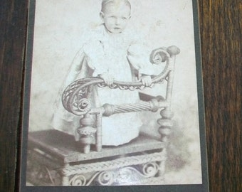 Vintage Cabinet Card Photograph 1800s Victorian Toddler On Fancy Chair 6 1/2 x 4 1/4
