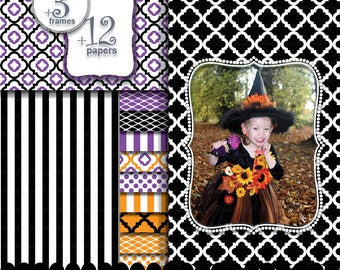 Halloween digital paper frame clip art, black orange purple background circle frame photo : p0207 3s063449C IP