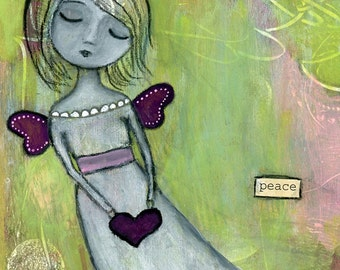 "Giclee Print - 5"" x 7"" Whimsy Angel Fairy Girl, Playful Inspirational Gift, Child's Decor Wall Art - ""Peace"""