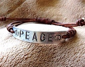 Silver PEACE sign Id Bracelet Hand Stamped Pewter, boho bohemian, font bracelet, metal tag jewelry, artisan jewelry with leather,