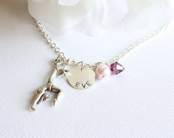 Personalized Sterling Silver Hand Stamped Charm, Gymnastics Name Necklace, Pink and Purple Girls Gymnast Charm Necklace- FREE Gift Packaging