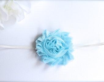 Shabby Chic Blue Single Rose Flower Skinny Headband Stretchy Baby Blue Toddler Girls Headband Photography Prop Chiffon Frayed Flower