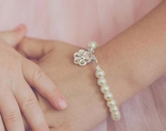 Flower Girl Gift, Girls Pearl Bracelet, Silver Flower Charm, Flower Girl Bracelet with Card, White or Ivory Pearls -- FREE Gift Packaging