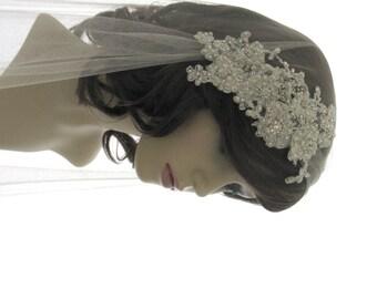 Couture bridal cap veil -1920s wedding  veil - Dentelle Pearl Luxe