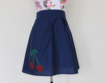 """CLEAR OUT !!! Handmade navy high-waisted skirt with applique red cherries and zipper UK size 16 waist 34"""""""