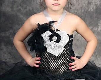 The Mahayah Ari Black and Grey Silver Damask Tutu Dress