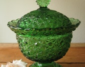 Beautiful Perfect Green Depression Glass Buttons and Bows Candy Dish / Green Glass Candy Dish / Wedding Gift