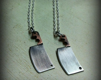 The Butcher. WOMEN'S Tiny Meat Cleaver. Mixed Metal Small Cleaver Necklace. Mini Blade. Chef Knife. Bill the Butcher. Sterling Charm Pendant