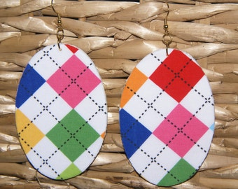 Argyle Fabric Covered Wood Earrings
