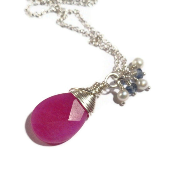 CLEARANCE--Hot Pink Chalcedony Pendant,Pearl and Gemstone Dangle Necklace Sterling Silver Wire Wrapped