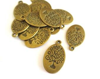 50 Pcs - Antique Brass Tree Pendants / Charms