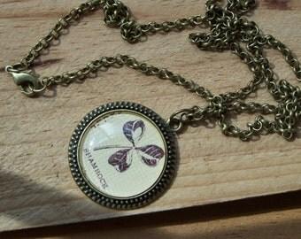 Shamrock Necklace--St. Patricks Day--Irish Gift--Vintage Dictionary Print Cabochon Necklace--Irish Notre Dame Gift