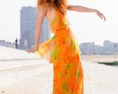Stunning Vintage Backless Citrus 70's Maxi Dress - madampopoffvintage