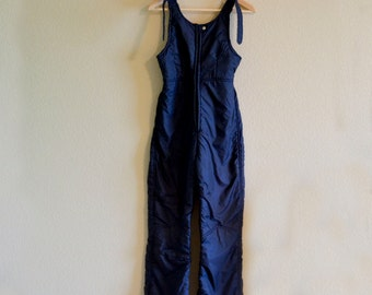 1970s SML/MED women's blue ski coveralls puffy pants outerwear