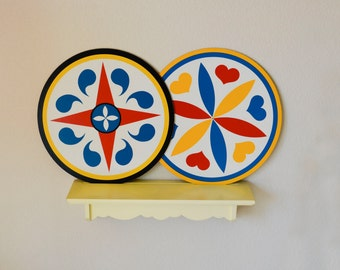 1960s DUTCH PAIR of 2 hex wall hanging decor