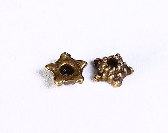 5mm antique brass star beadcaps - 5mm antique brass flower bead caps - textured beadcaps - Rustic beadcaps (853) - Flat rate shipping