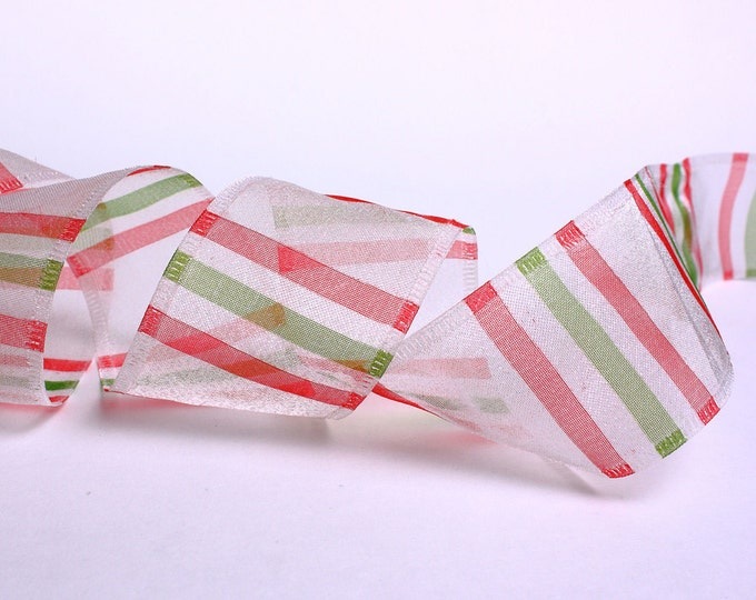 38mm white green red organza ribbon - 10 feet (R002) - Flat rate shipping