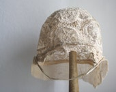 Antique BABY BONNET // French Lace bonnet - LaSartoria
