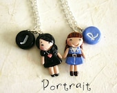 Best Friends Necklace, Sisters Necklaces, Custom Portrait with Initial Charm, Friendship Gift Idea, BFF necklace