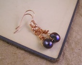 Black Pearl dangle earrings. Custom for Roxanne